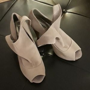 Sexy, beige suede peep toe with tie back